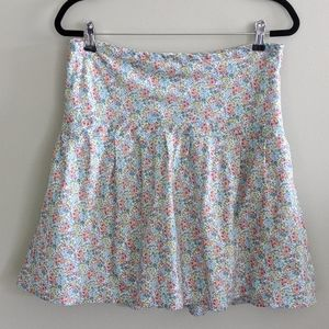 LL Bean Floral Skirt Pleated Zip Side Size 8